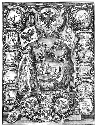 Imperial Knight - 15 Knight-cantons (Ritterorten) are represented in this print of 1721, Johann Stephan Burgermeister