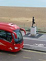 Reliance coach 278 (YP12 NUW) & Steve Ovett statue, 21 September 2012.jpg