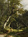Remigius Adrianus Haanen - Wooded landscape with two hunters (1872).jpg