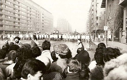 The Romanian Revolution of 1989 was one of the few violent revolutions in the Iron Curtain that brought an end to Communist rule. Revolutia Bucuresti 1989 000.JPG