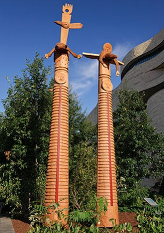 "Rick Bartow - Rick Bartow, We Were Always Here, 2012, carved old growth western red cedar, 324"" x 31"" x 15"""