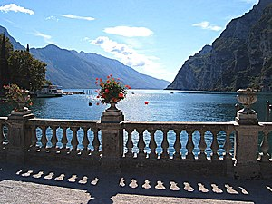 Trentino - A view of Lake Garda from Riva del Garda in the south. Tourism is one of the primary revenue areas of the Trentine economy.