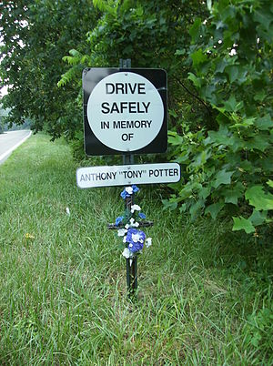Virginia Department of Transportation - VDOT roadside memorial sign