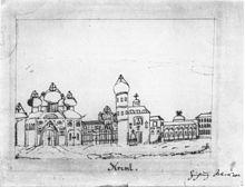 Federzeichnung Schumanns vom Moskauer Kreml (Quelle: Wikimedia)