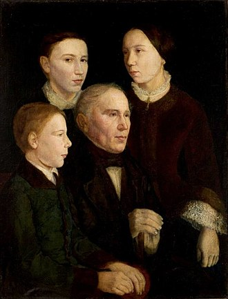 Jan Matejko - Portrait of Matejko's father, Franciszek, and three of his children. An early work of Matejko from 1853