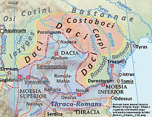 Romanians - Map showing the area where Dacian was spoken. The blue area shows the Dacian lands conquered by the Roman Empire. The orange area was inhabited by Free Dacian tribes and others.
