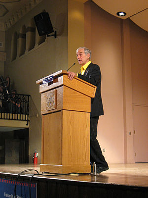 United States presidential election in Pennsylvania, 2008 - Ron Paul delivers a speech at the University of Pittsburgh on April 3, 2008.