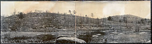 15th Regiment Alabama Infantry - Little Round Top (left) and Big Round Top, photographed from Plum Run Valley in 1909