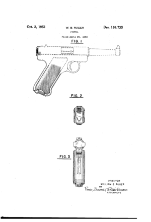 William B. Ruger - William B. Ruger's Standard Pistol 1951 Design Patent Drawing