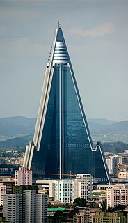 Skyscraper in Pyongyang, North Korea.
