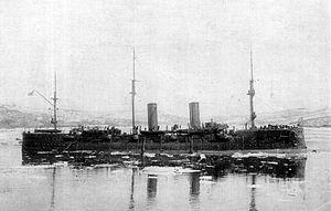 Russian cruiser Rurik (1892) - Rurik in 1904 with cut down rig.