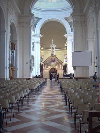 Papal Basilica of Saint Mary of the Angels in Assisi - Nave with the Porziuncola.