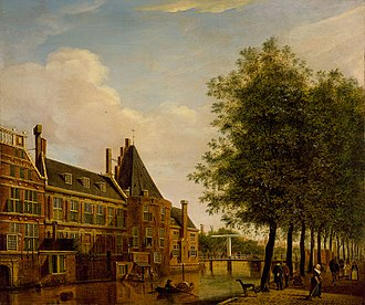 Kloveniersdoelen, Amsterdam - The Kloveniersdoelen in a 1775 painting by Jan Ekels the Elder. The former defensive tower Swijgh Utrecht, which formed part of the complex, is visible in the centre.