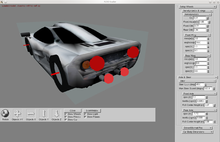 Screenshot showing the rear of a racing car and - on the right - a menu for customizing options.