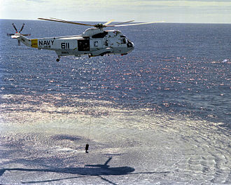 Sikorsky SH-3 Sea King - SH-3H deploying a dipping sonar, 1989