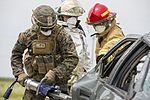 SPMAGTF-CR-AF Marines & Spanish firefighters conduct vehicle extrication training 160427-M-QM580-010.jpg