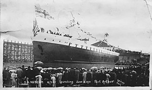 SS Noronic - SS Noronic after launching on June 2, 1913 in Port Arthur, Ontario.