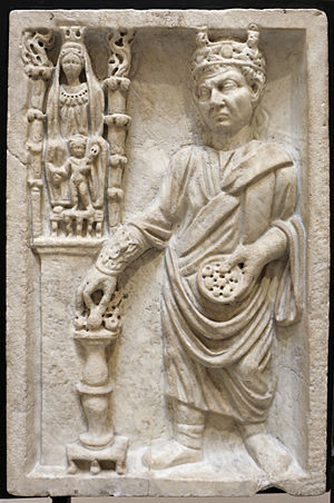 Galli - Relief of an Archigallus making sacrifices to Cybele and Attis, Museo Archeologico Ostiense, Ostia Antica.