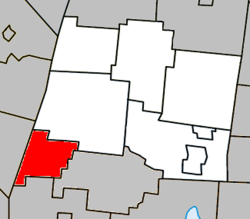 Location within La Haute-Yamaska RCM.