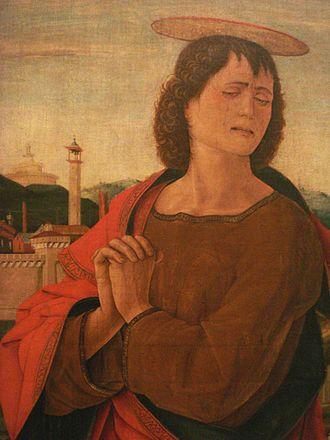 Vicino da Ferrara - Saint-John in Crucifixion (detail), Ferrara, by Vicino da Ferrara (1469-1470).