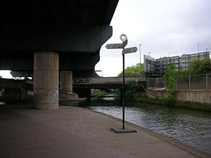 Salford Junction - Start of the Tame Valley Canal with its toll island. To Birmingham, left