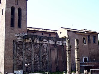 Temple of Janus as seen in the present church of San Nicola in Carcere, in the Forum Holitorium of Rome, Italy, dedicated by Gaius Duilius after his naval victory at the Battle of Mylae in 260 BC San Nicola Giano.JPG
