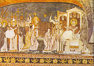Pope Clement I - 11th-century fresco in the Basilica of San Clemente, Rome: Saints Cyril and Methodius bring Saint Clement's relics to Rome