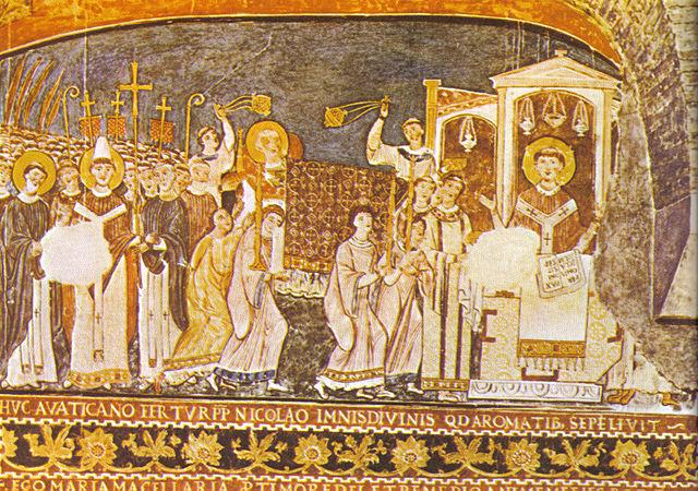Святые Кирилл и Мефодий вносят мощи святого Климента в Рим. Фреска XI века из Базилики Святого Климента