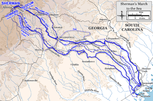Georgia in the American Civil War - A map showing Sherman's March to the Sea from November to December 1864.