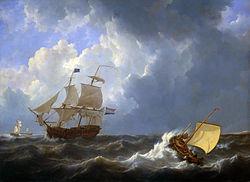 Schepen op onstuimige zee (1827)