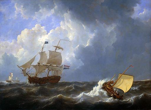 Schepen op onstuimige zee - Ships on a rough sea (Johannes Christiaan Schotel, 1827)