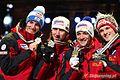 Schlierenzauer, Koch, Kofler, Morgenstern - gold medalllists - Oslo 2011 (men's team, normall hill, medal ceremony).jpg