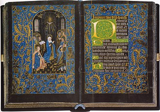 Book of hours - Black Hours, Morgan MS 493, Pentecost, Folios 18v, c 1475-80. Morgan Library & Museum, New York