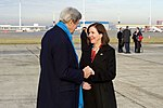 Secretary Kerry Chats With Ambassador to Belgium Denise Bauer After Arriving at Brussels International Airport (31459164045).jpg