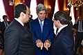 Secretary Kerry Chats With Qatari Foreign Minister Al Attiyah and Turkish Foreign Minister Davutoglu After Group Meeting in Paris About Gaza Cease-Fire (14562452379).jpg