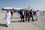 Secretary Kerry Walks With U.S. Ambassador Leaf and Deputy Chief of Mission Goldrich Upon Arrival in Abu Dhabi (30911385001).jpg