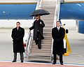 Secretary of State Hillary Rodham Clinton arrives at Travis Air Force Base, Calif 100111-F-WV915-012.jpg