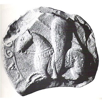 Siege of Tortosa (1148) - Partial seal of Raymond Berengar IV, depicting him as a knight with a kite-shaped shield