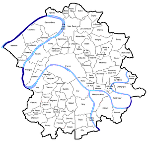 Seine (department) - Seine department and its communes before the 1860 enlargement of the city of Paris