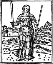 Η Σεμίραμις απεικονίζεται σαν ένοπλη Αμαζόνα σε αυτή την ιταλική εικονογράφηση του 18ου αιώνα.