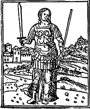 Semiramis - Semiramis depicted as an armed Amazon in this 18th-century Italian illustration