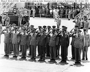 Lynde D. McCormick -  As acting chief of naval operations (fourth from left), saluting the arrival of Admiral Forrest P. Sherman's body at Washington National Airport, July 25, 1951