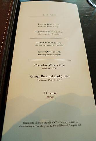 Table d'hôte - Set dinner menu from Heston Blumenthal