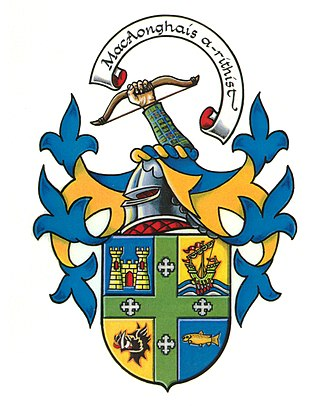 Clan MacInnes - New clan shield approved by Lord Lyon.  International Association of Clan MacInnes members proudly wear the crest displayed atop the shield.