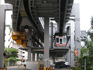Shonan Monorail - A Shonan Monorail train at Shōnan-Fukusawa station with track switch at upper left