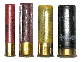 Shotgun shell - Shotgun shell comparison (left to right): .410, 28 gauge, 20 gauge, 12 gauge