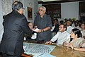 Shri Jaswant Singh filing the nomination papers for the Vice Presidential election, at Parliament, in New Delhi on July 20, 2012. The Leader of Opposition in Lok Sabha, Smt. Sushma Swaraj and other dignitaries are also seen.jpg
