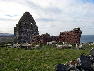 Old Red Sandstone - St. Helen's Chapel at Siccar Point has walls faced in Old Red Sandstone, with greywacke used on the inner face and surrounding drystane dykes.