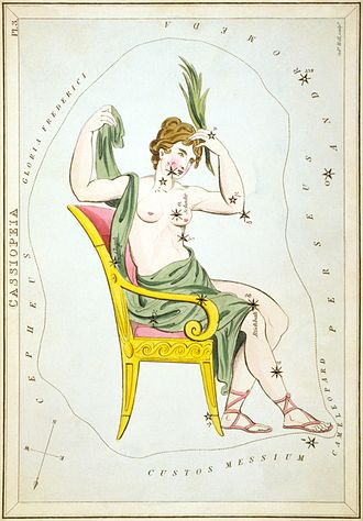 Cassiopeia (constellation) - Cassiopeia in her chair, as depicted in Urania's Mirror