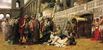 Persecution of Christians - A Christian Dirce, by Henryk Siemiradzki. A Christian woman is martyred under Nero in this re-enactment of the myth of Dirce (painting by Henryk Siemiradzki, 1897, National Museum, Warsaw).